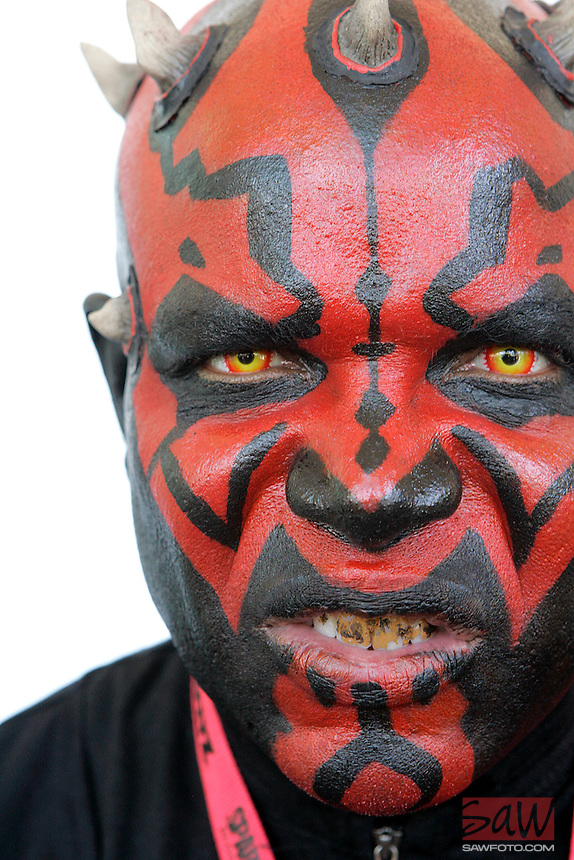 SAN DIEGO, CA. JULY 24, 2009: Thomas Parham,45, at his 15th Comic-Con International in San Diego Thursday, July 23, 2009. Parham in character as Darth Maul, the  Sith Lord during the Naboo crisis, as if you didn't already know.