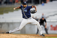 The Mobile BayBears pitcher Yonata Ortega #26 delivers a pitch during  game four of the Southern League Championship Series between the Mobile Bay Bears and the Tennessee Smokies at Smokies Park on September 18, 2011 in Kodak, Tennessee.  The BayBears won the Southern League Championship 6-4.  (Tony Farlow/Four Seam Images)