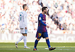 Lionel Andres Messi (R) of FC Barcelona and Cristiano Ronaldo of Real Madrid look on during the La Liga 2017-18 match between Real Madrid and FC Barcelona at Santiago Bernabeu Stadium on December 23 2017 in Madrid, Spain. Photo by Diego Gonzalez / Power Sport Images