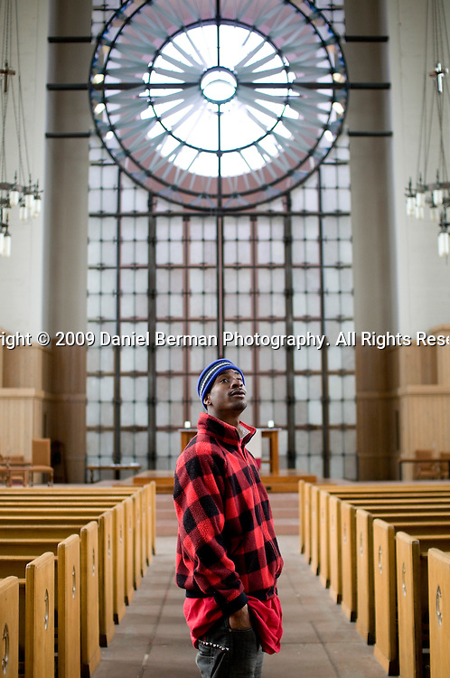 Johnny Stanley, 20, grew up in foster care and has been homeless since 2006. He has been with Tent City on three moves, but hopes that he will be able to get a job and his own place soon. He visits the church's sanctuary often, finding peace amongst its historic walls. He is almost always there alone.