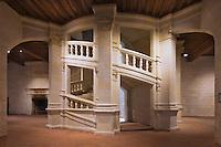 Europe/France/Centre/41/Loir-et-Cher/Sologne/ Chambord: Château de Chambord - L'escalier à double révolution , Patrimoine Mondial de l'UNESCO //  France, Loir et Cher, Loire Valley listed as World Heritage by UNESCO, the royal castle of Chambord, Leonard de Vinci's double spiral staircase