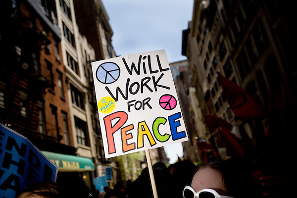 On April 29th, 2006 thousands of anti-war protesters rallied at Union Square in Manhattan and marched down Broadway to show their anger at the Bush administration for the continuing war in Iraq.