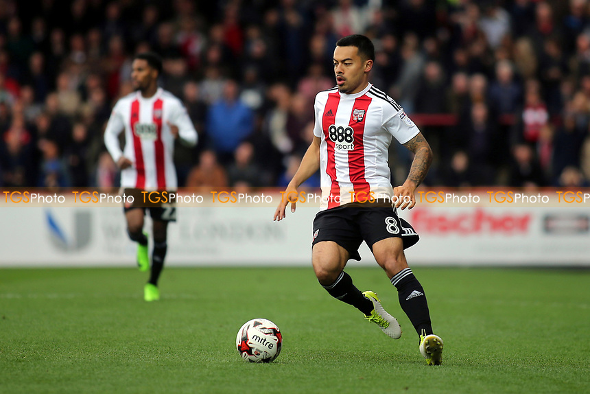 Nico Yennaris of Brentford in action during Brentford vs Derby County, Sky Bet EFL Championship Football at Griffin Park on 14th April 2017