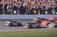 Michel WAltrip (15), Dale Earnhardt (3) battle for the lead, Daytona 500, Daytona International Speedway, Daytona Beach, FL, February 18, 2001.  (Photo by Brian Cleary/ www.bcpix.com )