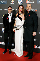 Spanish bullfighter Enrique Ponce (l) and his wife Paloma Cuevas with singer Miguel Bose during Barcelona 5th AIDS Ceremony. November 24,2014.(ALTERPHOTOS/Acero) /NortePhoto<br />