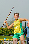 Siobhan Barrett (Gneeveguilla AC) throws the javelin in the Ladies U18 and U19 Javelin competition at the County Athletic Championships in Castleisland on Saturday..