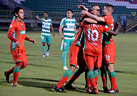 TUNJA-COLOMBIA, 25-03-2019: Los jugadores Patriotas Boyacá, celebran el gol anotado a La Equidad, durante partido entre Patriotas Boyacáy La Equidad, de la fecha 11 por la Liga de Águila I 2019 en el estadio La Independencia en la ciudad de Tunja. / The players of Patriotas Boyaca, celebrate a scored goal to La Equidad, during a match between Patriotas Boyaca and La Equidad, of the date 11th for the  Aguila Leguaje I 2019 at La Independencia stadium in Tunja city. Photo: VizzorImage / José Miguel Palencia / Cont.