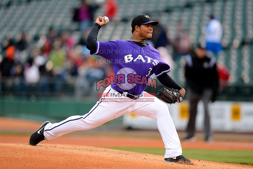 Louisville Bats pitcher Daniel Corcino #31 during a game against the Indianapolis Indians on April 19, 2013 at Louisville Slugger Field in Louisville, Kentucky.  Indianapolis defeated Louisville 4-1.  (Mike Janes/Four Seam Images)