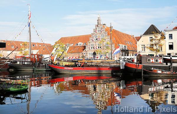 Nederland Leiden 2015 10 03 . Binnenstad van Leiden. De Stadstimmerwerf aan het Galgewater. Foto Berlinda van Dam / Hollandse Hoogte