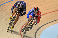 JASON KENNY (GBR) and KEVIN SIREAU (FRA) race in the quarterfinals of the Men's Sprint event on day 3 of the 2012 UCI Track Cycling World Championships at Hisense Arena in Melbourne, Australia. Photo Sydney Low. Copyright 2012 Sydney Low. All rights reserved. No reproduction permitted. Access via FlickrAPI not permitted...Please contact ZUMApress.com for editorial licensing:.Phone +1.949.481.3747  -  fax +1.949.481.3941  -  zuma-info@ZUMAPress.com .408 N. El Camino Real, San Clemente, California, 92672 USA