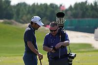Adrian Otaegui (ESP) and Fran Caffrey (Golffile) on the driving range during the Pro-Am of the Abu Dhabi HSBC Championship 2020 at the Abu Dhabi Golf Club, Abu Dhabi, United Arab Emirates. 15/01/2020<br /> Picture: Golffile | Thos Caffrey<br /> <br /> <br /> All photo usage must carry mandatory copyright credit (© Golffile | Thos Caffrey)