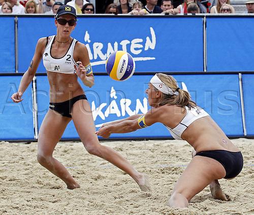 05.08.2011. Action from the FIVB Beach Volleyball Grand Slam tournament in Klagenfurt, Austria. Picture shows Doris Schwaiger and Stefanie Schwaiger (AUT).