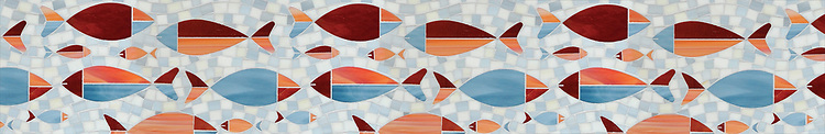 "8"" Floating Fish border, a waterjet mosaic shown in Mica, Sardonyx, Garnet, Pearl, and Quartz, is part of the Erin Adams Collection for New Ravenna."