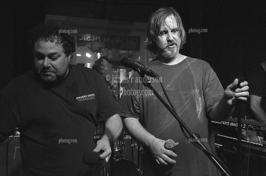Robbie G and Jeff Martinson at the changing of the guard. Jerry Garcia 70th Birthday Bash. Stella Blues Cafe, New Haven CT 1 August 2012