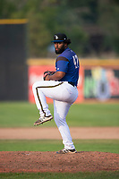 Missoula Osprey starting pitcher Mailon Arroyo (47) delivers a pitch during a Pioneer League game against the Orem Owlz at Ogren Park Allegiance Field on August 19, 2018 in Missoula, Montana. The Missoula Osprey defeated the Orem Owlz by a score of 8-0. (Zachary Lucy/Four Seam Images)