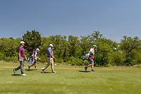 Jonathan Randolph (USA) and Kyle Thompson (USA) head down 1 during Round 1 of the Valero Texas Open, AT&amp;T Oaks Course, TPC San Antonio, San Antonio, Texas, USA. 4/19/2018.<br /> Picture: Golffile | Ken Murray<br /> <br /> <br /> All photo usage must carry mandatory copyright credit (&copy; Golffile | Ken Murray)