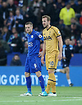 Leicester's Jamie Vardy with Tottenham's Harry Kane during the Premier League match at the King Power Stadium, Leicester. Picture date: May 18th, 2017. Pic credit should read: David Klein/Sportimage