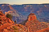A hiker heads towards Oneill Butte on the South Kaibab Trail in the Grand Canyon.