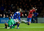 Kris Boyd falls in the box as he goes past keeper Ludovic Roy
