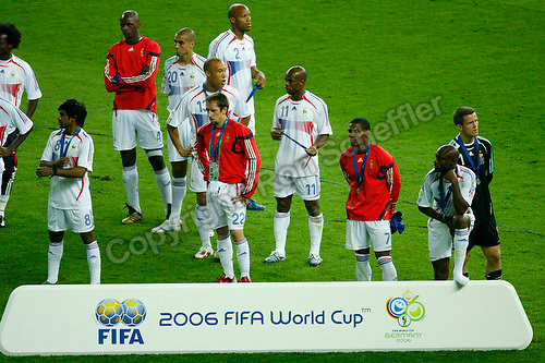 Jul 9, 2006; Berlin, GERMANY; France players take in their 5-3 loss on penalty kicks to Italy following a 1-1 draw after extra time in the final of the 2006 FIFA World Cup at the Olympiastadion, Berlin. Mandatory Credit: Ron Scheffler-US PRESSWIRE Copyright © Ron Scheffler