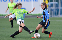 20180915 - Brugge , BELGIUM : Aalst's Isabel Scevenels (left) pictured tackling on Brugge's Talitha De Groote (r) during the third game in the first division season 2018-2019 between the women teams of Club Brugge Dames and Eendracht Aalst , Saturday 15 September 2018 . PHOTO DAVID CATRY | SPORTPIX.BE