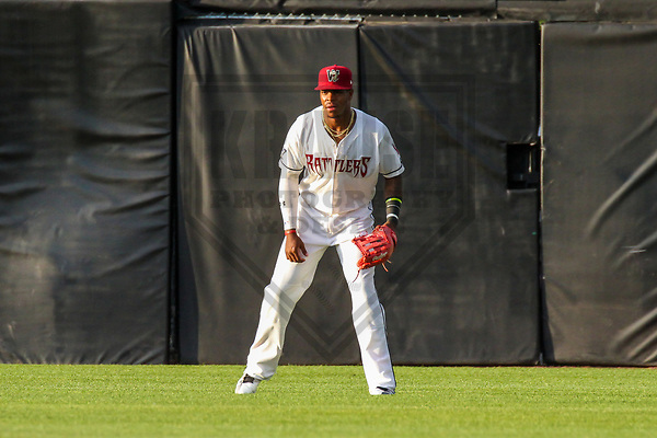Wisconsin Timber Rattlers outfielder Monte Harrison (3) during a Midwest League game against the Quad Cities River Bandits on June 8, 2017 at Fox Cities Stadium in Appleton, Wisconsin.  Wisconsin defeated Quad Cities 8-3. (Brad Krause/Krause Sports Photography)