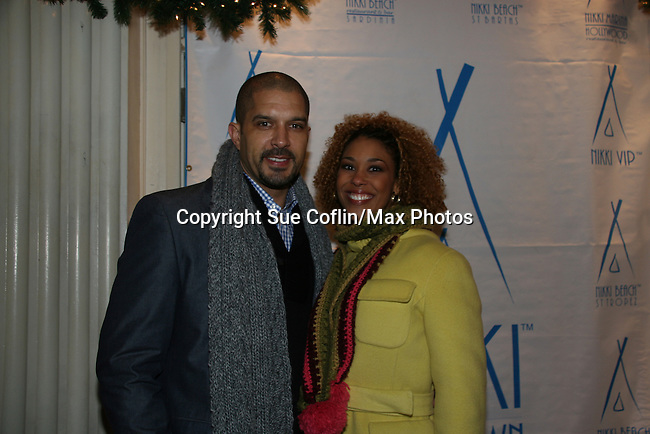 One Life To Live's Terrell Tilford & Victoria Platt at Marcia Tovsky's Holiday/Bon Voyage Party for AMC on December 1, 2009 at Nikki Midtown, New York City, New York. (Photo by Sue Coflin/Max Photos)