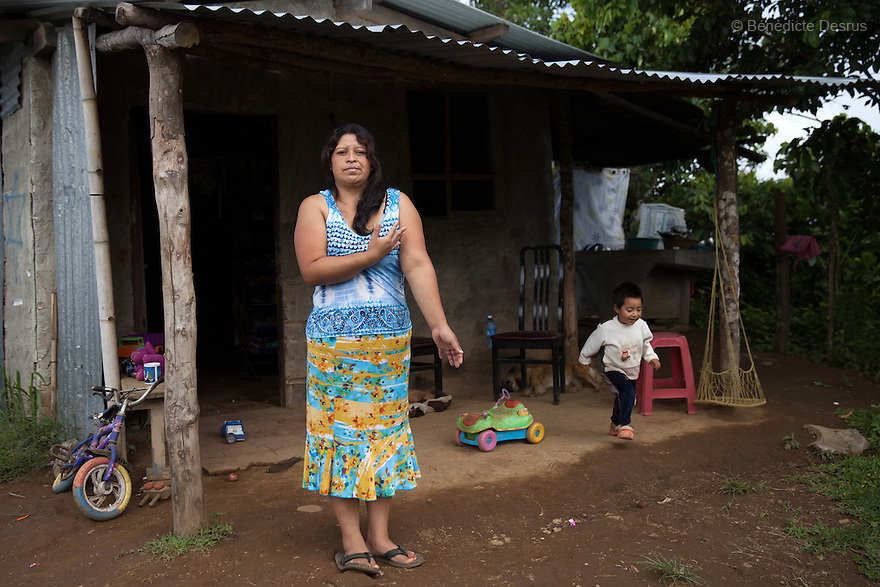Blanca Delmi Ordóñez with her 3 year old son at their home in Teotepeque, La Libertad, El Salvador on June 9, 2015. Ordóñez gave birth in a latrine and she had not even known she was pregnant, although she already had a son. The baby was found dead in the latrine by firemen and authorities decided that this was murder. Ordóñez spent 11 months in prison. The case against her was finally dismissed. Abortion in El Salvadorisillegal. The law formerly permitted an abortion to be performed under some limited circumstances, but, in 1998, all exceptions were removed when a newabortion law went into effect. Photo by Bénédicte Desrus