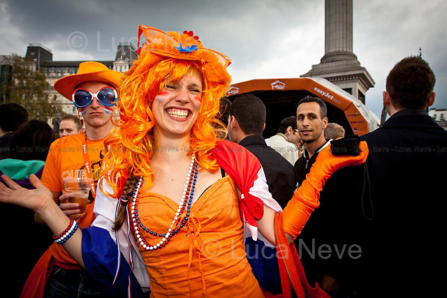 Unknown - 2011<br /> <br /> London, 16/04/2011. Thousands of people dressing up in orange, the Dutch national colour, gathered in Trafalgar Square to attend the festival organised in honour of the Dutch Queen's birthday.