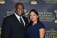 NEW YORK CITY - MAY 8: Curt Menefee and his wife Violet attend the Sports Emmy Awards at Jazz at Lincoln Center's Frederick P. Rose Hall in Manhattan on May 08, 2018 in New York City. (Photo by Anthony Behar/FX/PictureGroup)