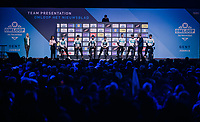 Team SKY at the pre-race team presentation in the legendary Kuipke Velodrome<br /> <br /> Omloop Het Nieuwsblad 2018<br /> Gent &rsaquo; Meerbeke: 196km (BELGIUM)