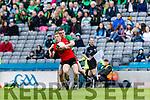 Pa Kilkenny Glenbeigh Glencar in action against Tomas Bloomer Rock Saint Patricks in the Junior Football All Ireland Final in Croke Park on Sunday.