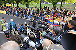 Photographers wait on the finish line of Stage 2 of the 104th edition of the Tour de France 2017, running 203.5km from Dusseldorf, Germany to Liege, Belgium. 2nd July 2017.<br /> Picture: Eoin Clarke | Cyclefile<br /> <br /> <br /> All photos usage must carry mandatory copyright credit (&copy; Cyclefile | Eoin Clarke)
