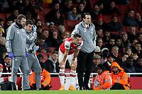Arsenal Head Coach, Unai Emery and Arsenal's Granit Xhaka during Arsenal vs Eintracht Frankfurt, UEFA Europa League Football at the Emirates Stadium on 28th November 2019