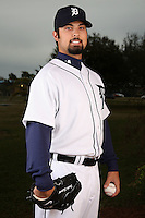 February 27, 2010:  Pitcher Daniel Schlereth (55) of the Detroit Tigers poses for a photo during media day at Joker Marchant Stadium in Lakeland, FL.  Photo By Mike Janes/Four Seam Images