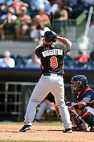 Miami Marlins third baseman Ty Wigginton (8) during a spring training game against the Houston Astros on March 21, 2014 at Osceola County Stadium in Kissimmee, Florida.  Miami defeated Houston 7-2.  (Mike Janes/Four Seam Images)