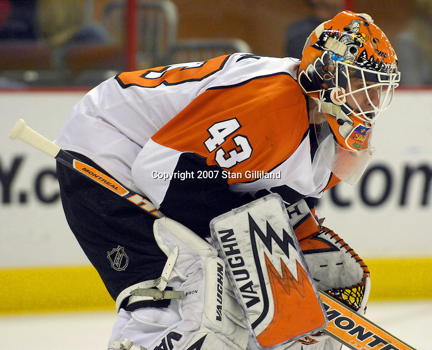 The Philadelphia Flyers' goalie Martin Biron watches the action during their game with the Carolina Hurricanes Wednesday, Nov. 21, 2007 in Raleigh, NC. The Flyers won 6-3.