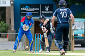 Cricket Scotland - Scotland V Namibia World Cricket League One-Day match today (Sun) at Grange CC - Scotland bat Richie Berrington gets the ball away, past Namibia keeper Zane Green - non—striking batsman is Calum MacLeod - this match is the first of two WCL games this week against Namibia on the same ground - picture by Donald MacLeod - 11.06.2017 - 07702 319 738 - clanmacleod@btinternet.com - www.donald-macleod.com