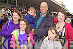 Maura and Edel Moran(Tralee), Aidan Mooney(Lixnaw), Liam and Niamh Moran(Tralee) and Carol Fitzgerald(Lixnaw) enjoying the opening day of the Listowel races last Sunday afternoon.