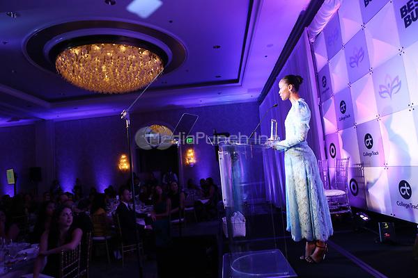 LOS ANGELES, CA - NOVEMBER 8: Zoe Saldana at the Eva Longoria Foundation Dinner Gala honoring Zoe Saldaña and Gina Rodriguez at The Four Seasons Beverly Hills in Los Angeles, California on November 8, 2018. Credit: Faye Sadou/MediaPunch