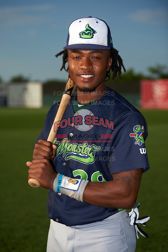 Vermont Lake Monsters third baseman JaVon Shelby (29) poses for a photo before a game against the Auburn Doubledays on July 12, 2016 at Falcon Park in Auburn, New York.  Auburn defeated Vermont 3-1.  (Mike Janes/Four Seam Images)