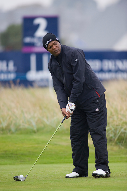 ALFRED DUNHILL LINKS CHAMPIONSHIP, ST.ANDREWS..SAMUEL L JACKSON AT CARNOUSTIE.9-10-2010 PIC BY IAN MCILGORM