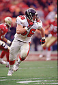 Atlanta Falcons Keith Brooking (56)  during a game from his 1999 season with the Atlanta Falcons. Keith Brooking played for 15 season with 3 different teams and was a 5-time Pro Bowler.(SPORTPICS)