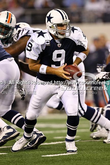 Dallas Cowboys quarterback Tony Romo (9) in action during the Thanksgiving Day game between the Miami Dolphins and the Dallas Cowboys at the Cowboys Stadium in Arlington, Texas. Dallas defeats Miami 20 to 19...