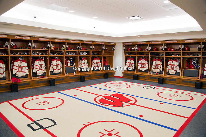 A general view of the Wisconsin Badgers locker room prior to an NCAA college women's hockey game against the Minnesota Golden Gophers Saturday, February 15, 2014 in Madison, Wis. (Photo by David Stluka)