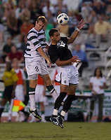 The number 5 ranked Charlotte 49ers play the University of South Carolina Gamecocks at Transamerica field in Charlotte.  Charlotte won 3-2 in the second overtime.  Alan Kirkbride (8), Bradlee Baladez (10)