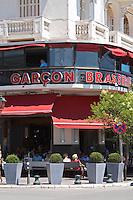 Garcon brasserie cafe on the waterfront. Thessaloniki, Macedonia, Greece