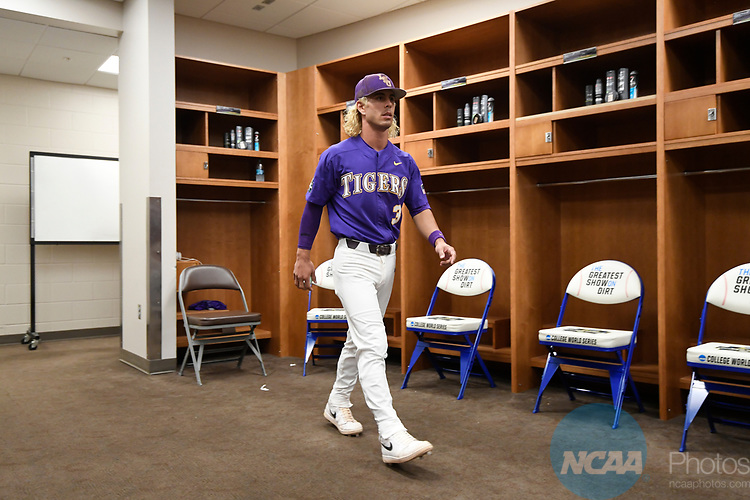 OMAHA, NE - JUNE 26:  Kramer Robertson (3) of Louisiana State University walks through the locker room before his team takes on the University of Florida during the Division I Men's Baseball Championship held at TD Ameritrade Park on June 26, 2017 in Omaha, Nebraska. The University of Florida defeated Louisiana State University 4-3 in game one of the best of three series. (Photo by Jamie Schwaberow/NCAA Photos via Getty Images)