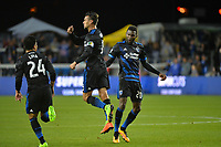 San Jose, CA - Saturday, March 11, 2017: Nick Lima, Chris Wondolowski celebrates scoring, Shaun Francis during a Major League Soccer (MLS) match between the San Jose Earthquakes and the Vancouver Whitecaps FC at Avaya Stadium.