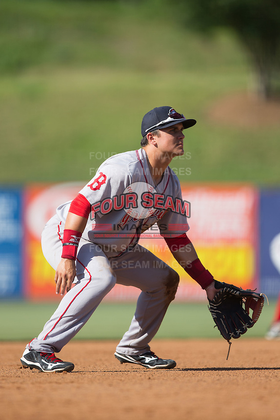 Greenville Drive third baseman Michael Chavis (11) on defense against the Kannapolis Intimidators at Intimidators Stadium on June 7, 2016 in Kannapolis, North Carolina.  The Drive defeated the Intimidators 4-1 in game one of a double header.  (Brian Westerholt/Four Seam Images)